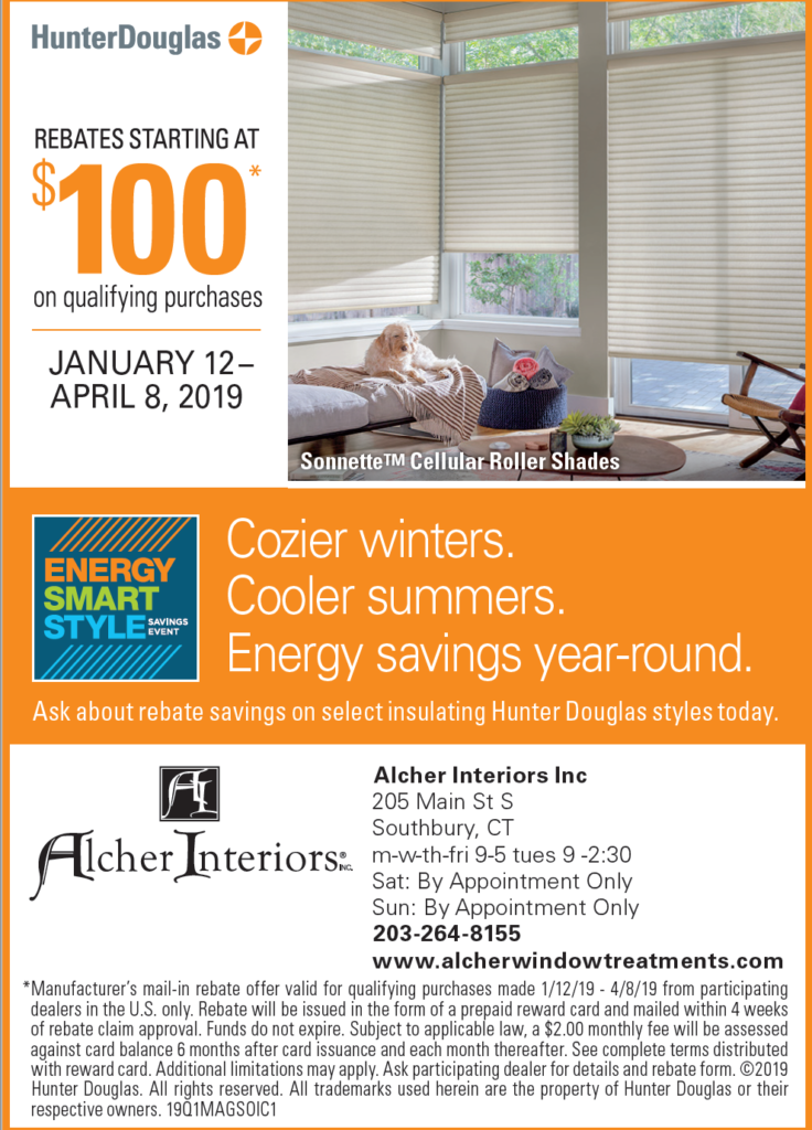 Hunter Douglas products on sale at Alcher Interiors - Jan 12 - April 8