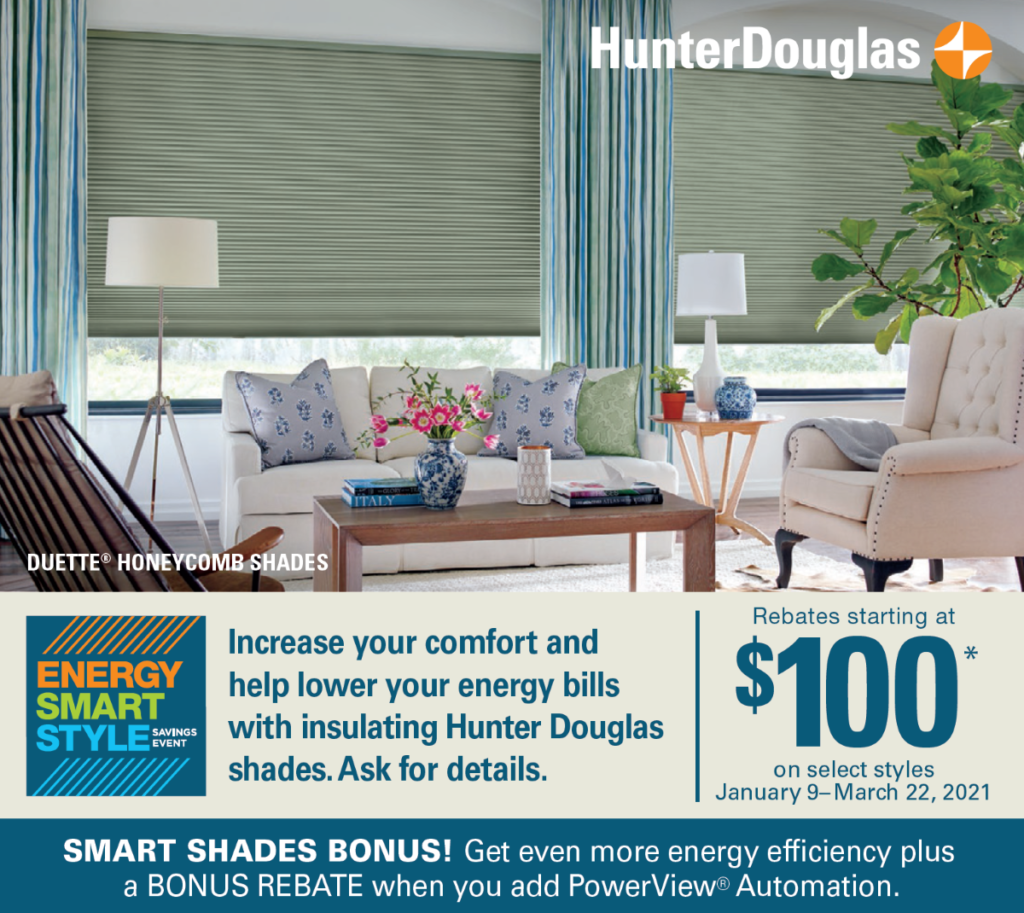 Hunter Douglas sale at Alcher Interiors - January 9, 2021 - March 22, 2021